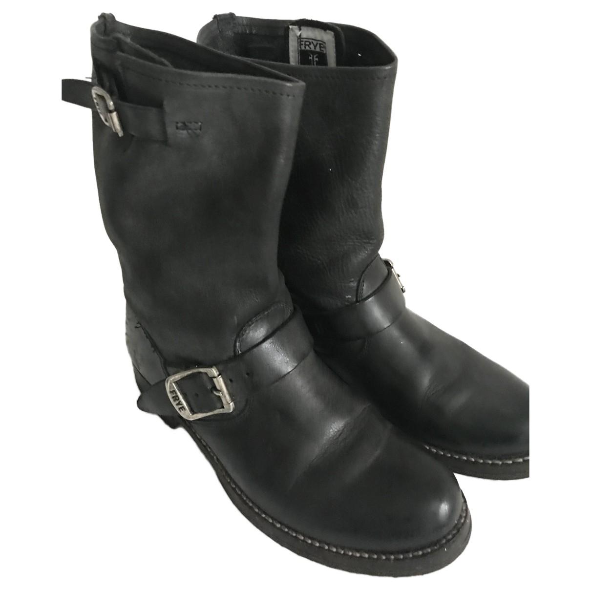 Frye \N Stiefeletten in  Schwarz Leder