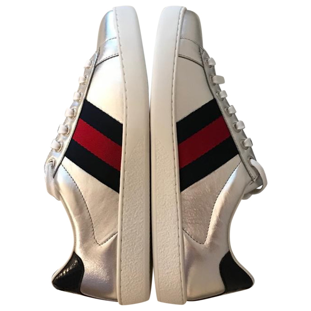 Gucci Ace Sneakers in  Silber Leder