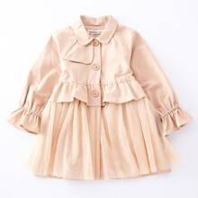 Toddler Girls Ruffle Trim Contrast Mesh Coat