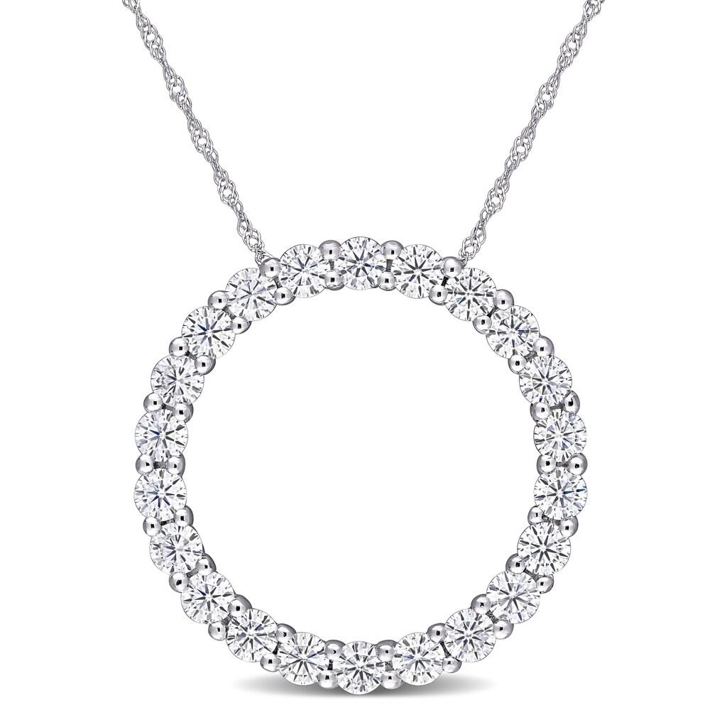 Moissanite by Miadora 14k White Gold 2 1/5ct TGW Moissanite Circle of Life Necklace