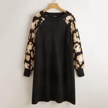 Pullover Kleid mit Grafik Muster und Raglanaermeln