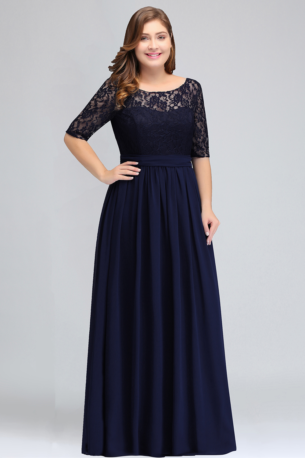 BMbridal Plus Size Elegant Half-Sleeves Lace Bridesmaid Dresses with Bow