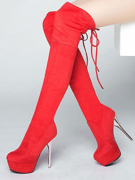 Milanoo Botas de mujer rojo con cordones plataforma de tacon alto de tacon alto Sexy Bota alta