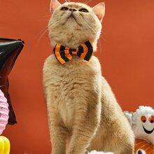 Katze Schleife mit Halloween Muster und Streifen Dekor