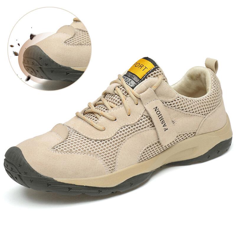 Men Outdoor Mesh Breathable Slip Resistant Hiking Shoes