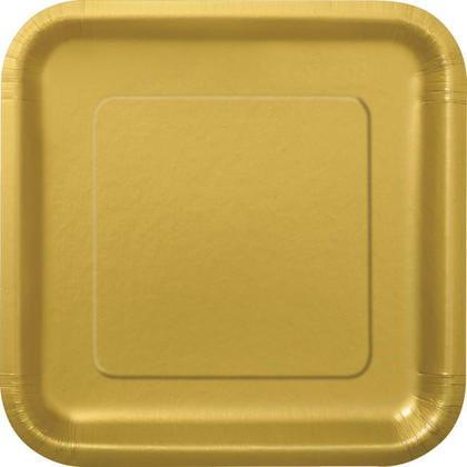 Party Paper Square Dinner Plate 9 Gold, 14Pcs