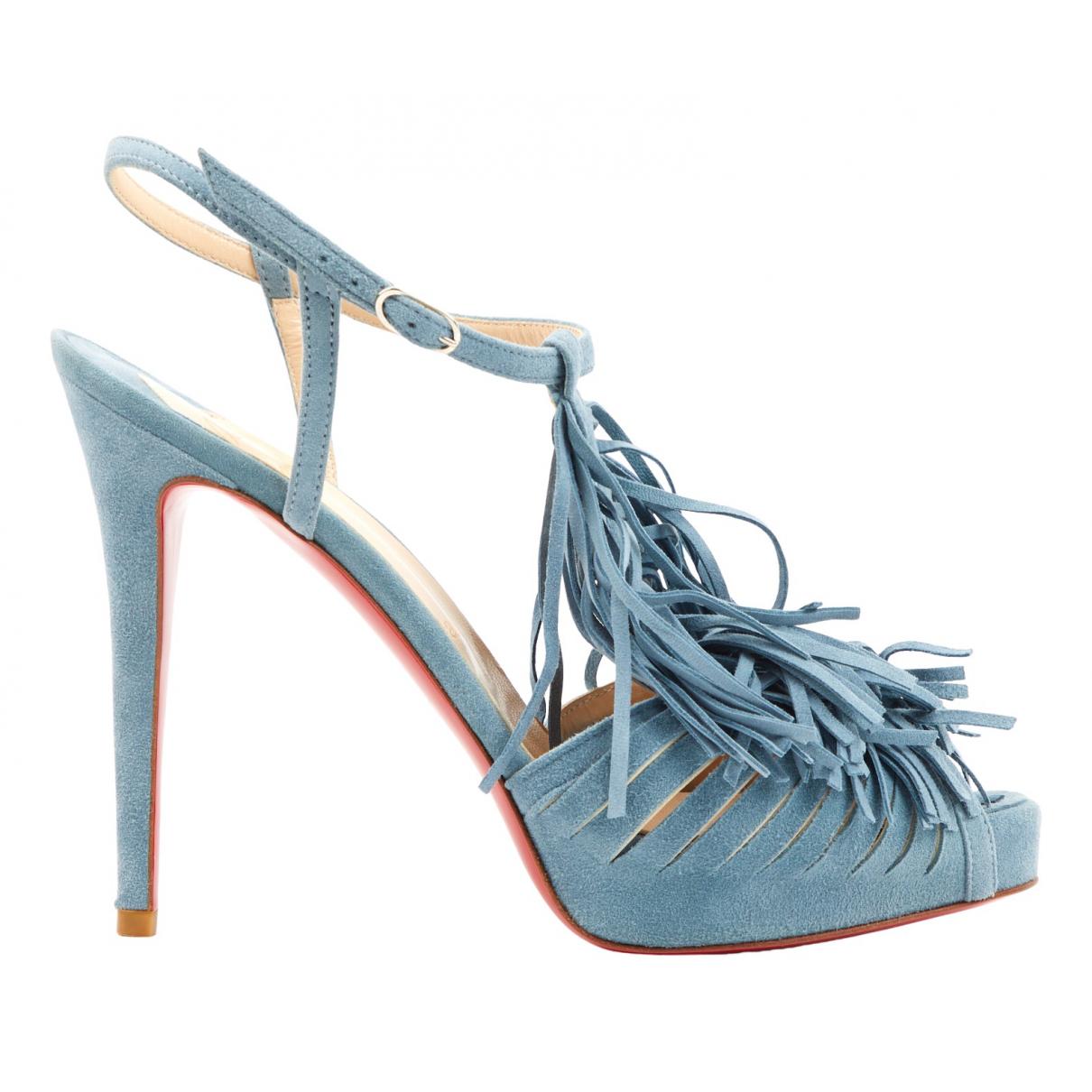 Christian Louboutin \N Blue Suede Sandals for Women 38.5 EU