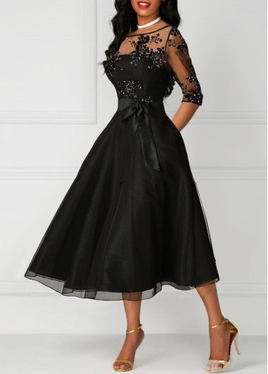 Women'S Black Illusion A Line Cocktail Party Dress Vintage Three Quarter Sleeve Lace Panel High Waisted Midi Dress By Rosewe - XXL