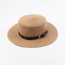 Sombrero de paja con banda con patron de leopardo
