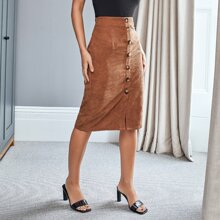 Zip Side Button Front Corduroy Skirt