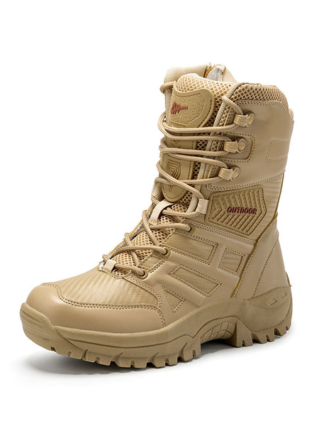 Milanoo Mens Military Boots Hiking Boots Outdoor Mountain Climbing Breathable Trekking Shoes