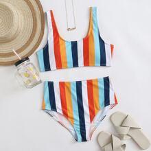 Bikini Badeanzug mit buntem Streifen und hoher Taille