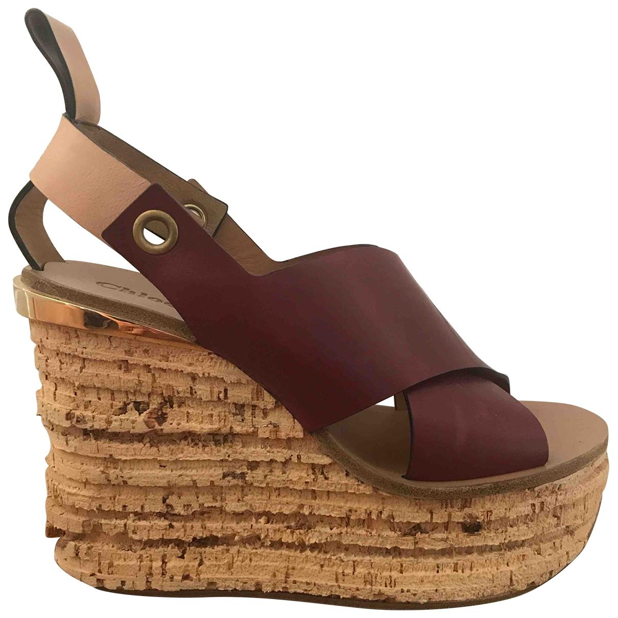 Chloé Camille Burgundy Leather Sandals for Women 39 EU