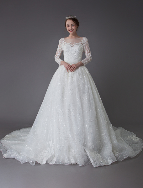 Milanoo Wedding Dresses Long Sleeve Lace Sequin Applique Illusion Bridal Gowns With Train