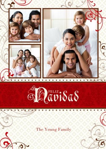 Christmas Photo Cards 5x7 Cards, Premium Cardstock 120lb with Scalloped Corners, Card & Stationery -Feliz Navidad