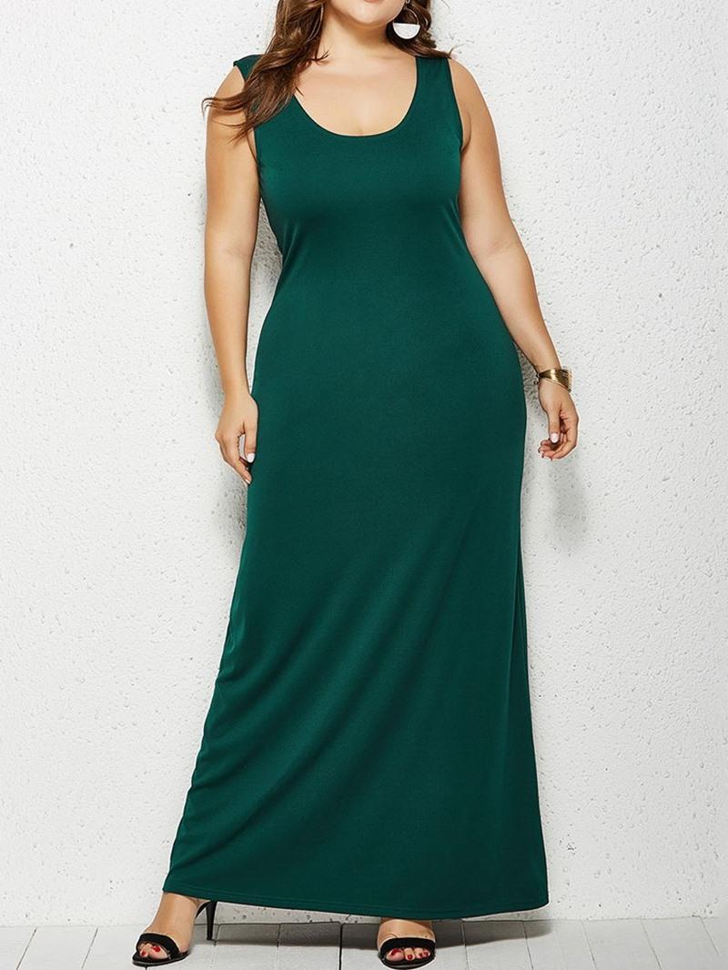 Ericdress Sleeveless Floor-Length Plain A-Line Dress