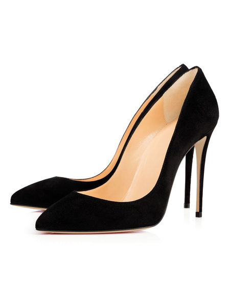 Milanoo Black High Heels Suede Leather Pointed Toe Stiletto Heel Slip On Pumps