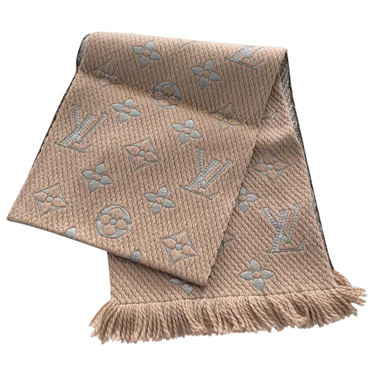 Louis Vuitton - Foulard Logomania pour femme en laine - beige