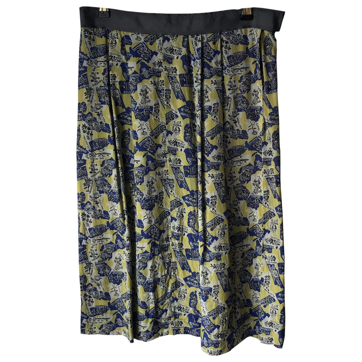 - Jupe   pour femme en soie - jaune
