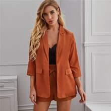 Open Front Solid Blazer & Paperbag Waist Belted Shorts Set