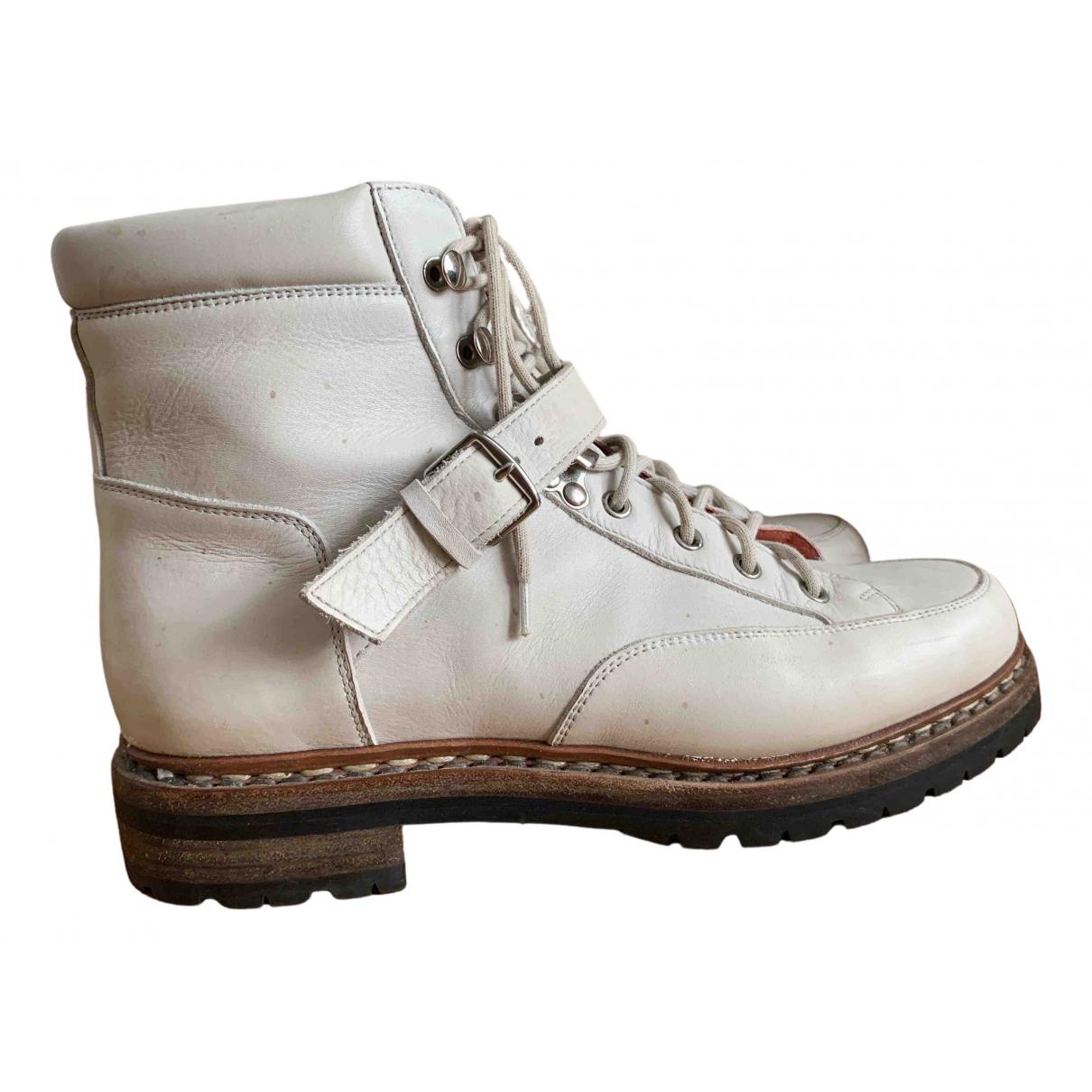 Hermès \N Ecru Leather Ankle boots for Women 39 EU