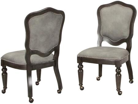 CR-87711-2 Dining Chair in Set of 2 with Nail Head Accents  Casters  Wood Veneer and Upholstery Material  in Dark