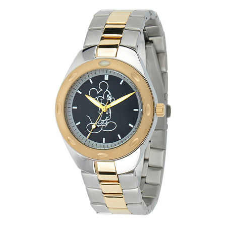 Disney Mickey Mouse Mens Two Tone Stainless Steel Bracelet Watch-W001899, One Size , No Color Family