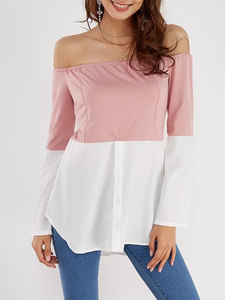 Yoins Pink & White Off Shoulder Long Sleeves T-shirt