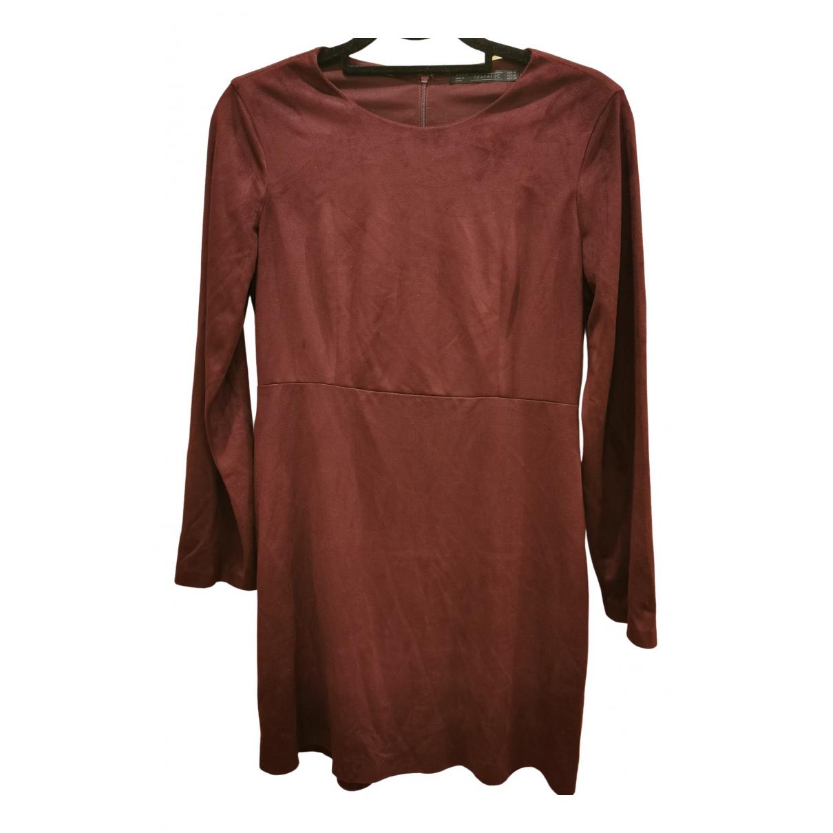 Zara \N Kleid in  Bordeauxrot Kalbsleder in Pony-Optik