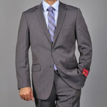 Mens Slimfit Grey Textured Wool 2button Suit