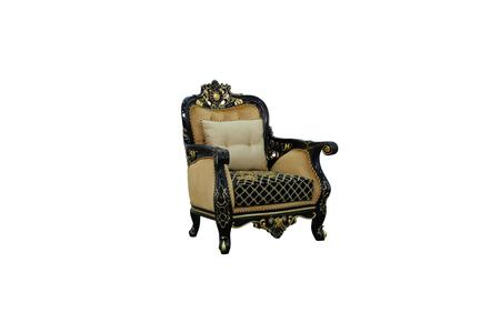 Bellagio Collection III Luxury Accent Chair  Hand Carved and Handcrafted  Mahogany Wood Solid  Reversible Seat Cushions  Pillows Included  in Black
