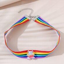 Rainbow Stripe Pattern Choker