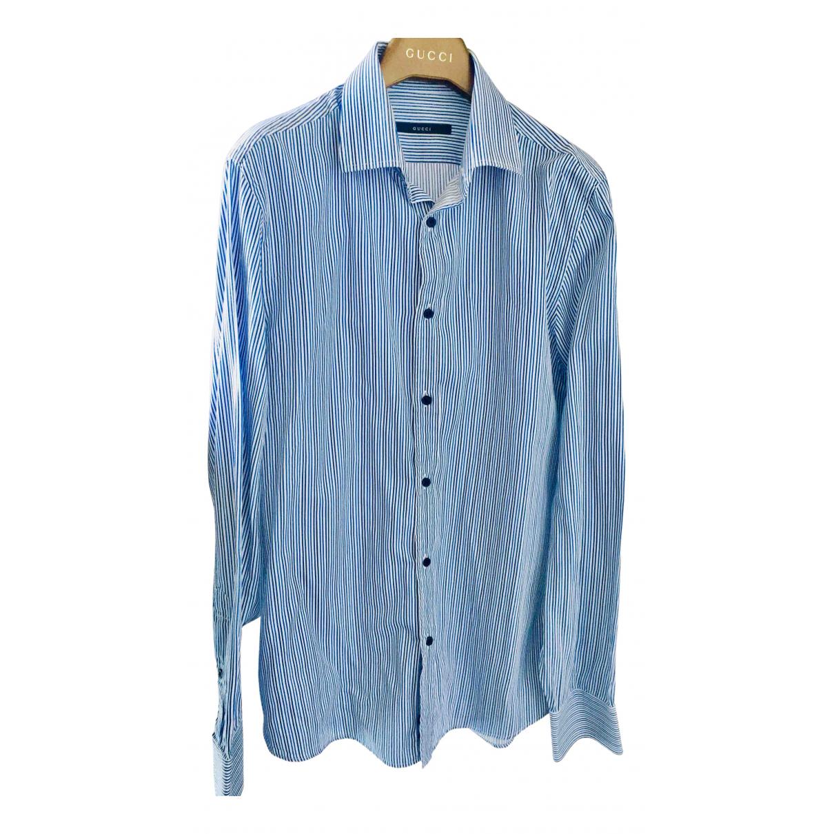 Gucci N Navy Cotton Shirts for Men 39 EU (tour de cou / collar)