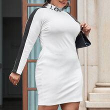 Plus Letter Graphic Mock-neck Contrast Sideseam Raglan Sleeve Dress