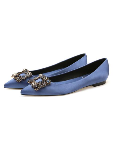 Milanoo Zapatos de noche Saten negro Punta puntiaguda Detalles de metal Zapatos planos de noche con diamantes de imitacion Zapatos de fiesta