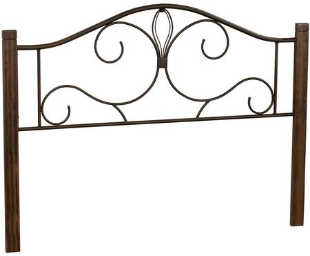 Destin Collection 2220HTWC Twin Size Headboard with Open-Frame Panel Design  Decorative Metal Scrollwork and Solid Wood Posts in Brushed