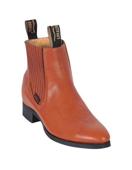 Los Altos Charro Botin Short Ankle Deer Honey Leather Boots For Men