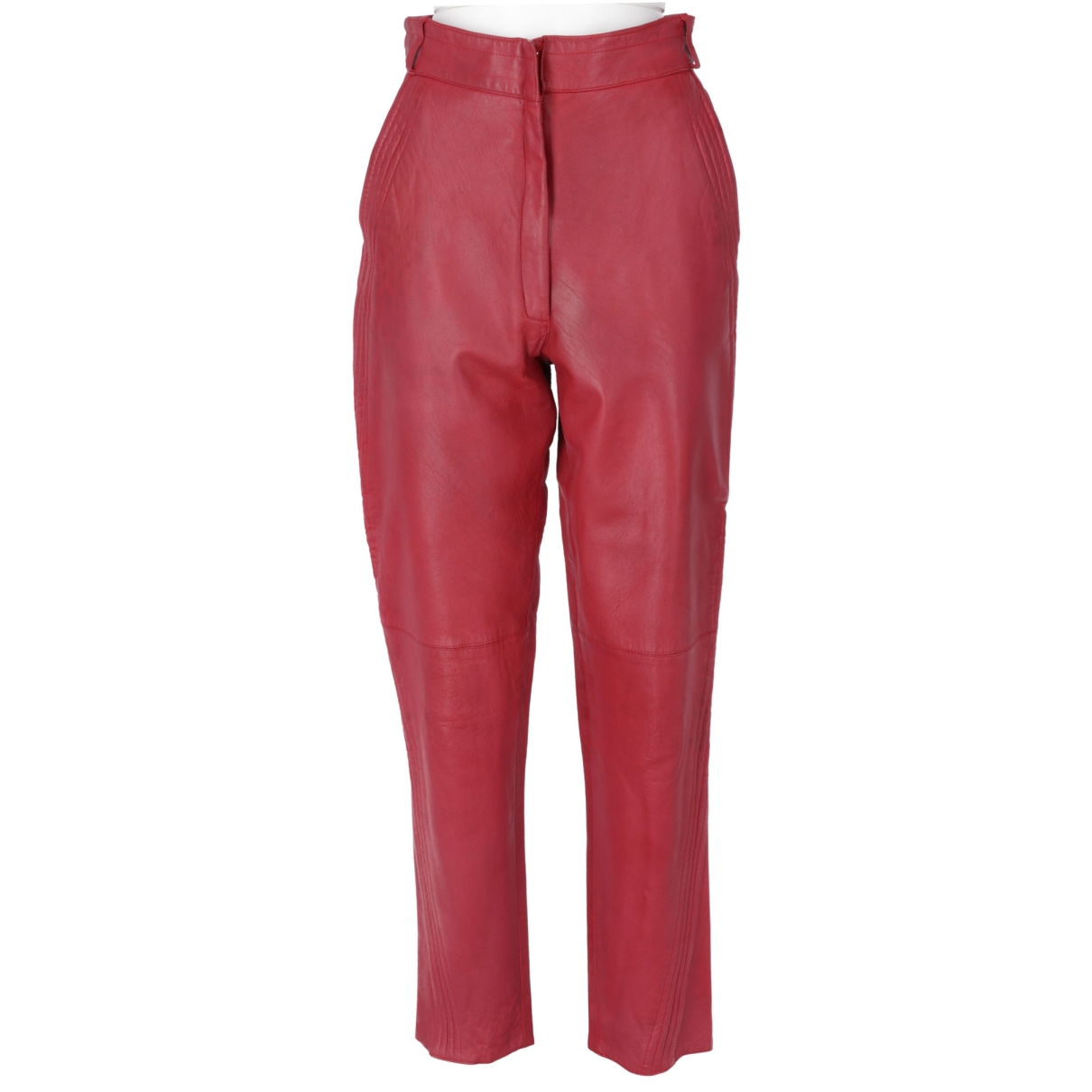Gianni Versace \N Red Leather Trousers for Women 42 IT