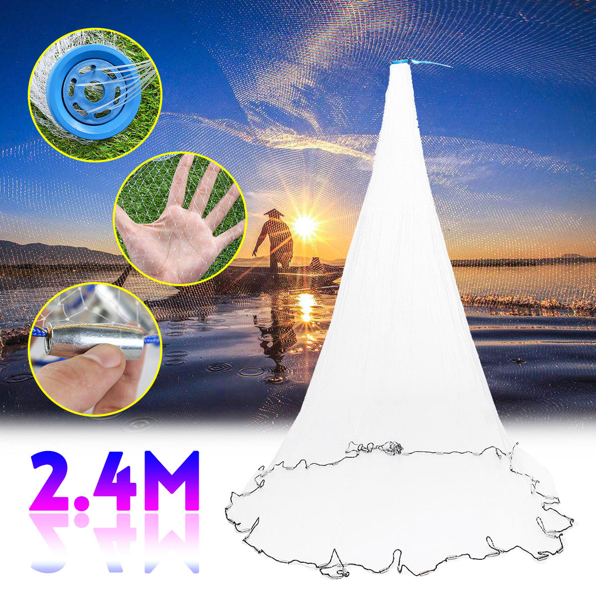 ZANLURE 2.4M Fishing Net Nylon Monofilament Mesh Gill Easy Throw Casting Fishing Tool Fishing Net