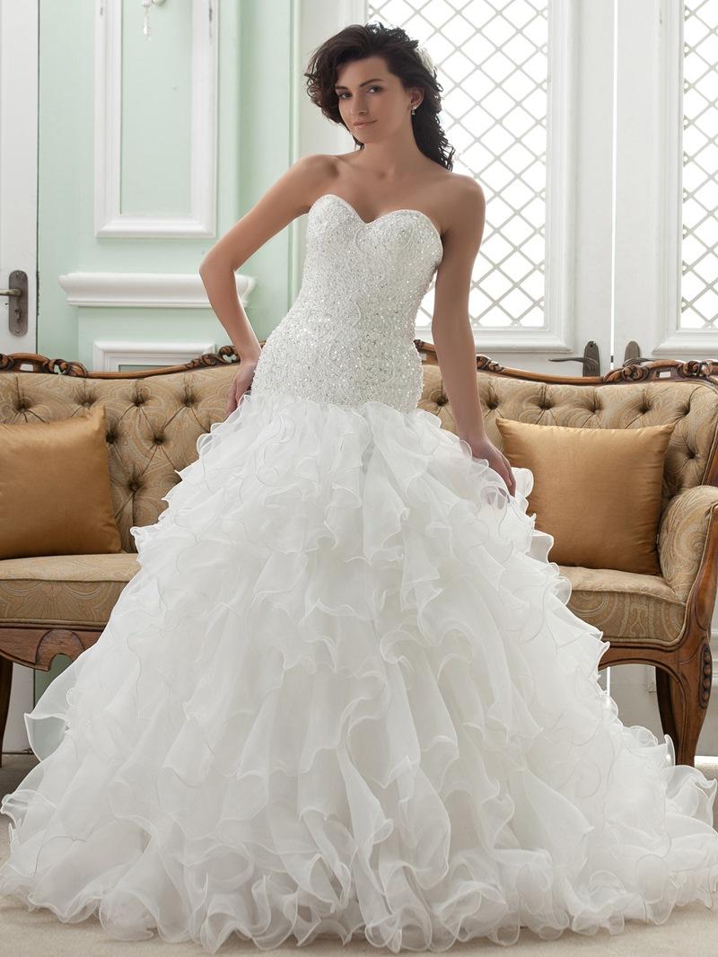 Amazing Ball Gown Sweetheart Chapel Train Ruffles Wedding Dress
