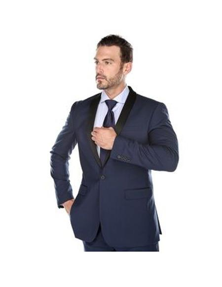 Mens Shawl Lapel Single Breasted Navy Slim Fit Two-piece Suit