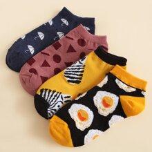 4pairs Geo & Umbrella Pattern Socks