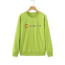 Cartoon Planets Print Sweatshirt