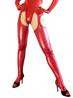 Milanoo Disfraz Halloween Catsuit Sexy Rojo Metalico Brillante Halloween