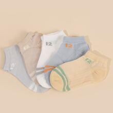 5 pares calcetines de malla de niñitos con patron de numero