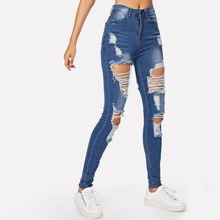 Stonewash Distressed Skinny Jeans