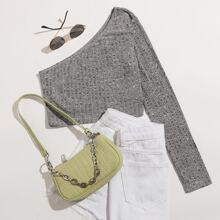 One Shoulder Rib-knit Crop Tee