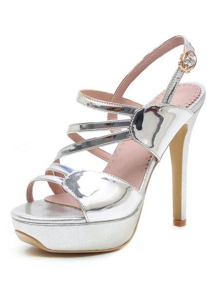 Milanoo Platform High Heel Sandals Womens Open Toe Slingback Stiletto Heel Sandals