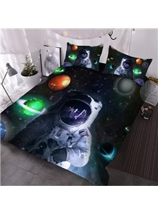 Space Astronaut 3D Warm Comforter 3-Piece Soft Comforter Sets with 2 Pillowcases