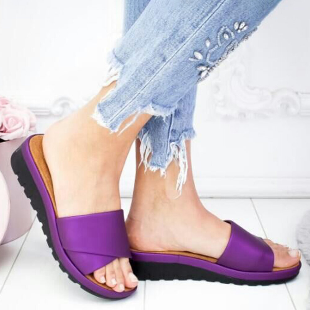 Large Size Women Casual Wedges Beach Slide Slippers